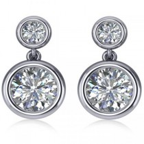 Double Round-Cut Bezel Diamond Drop Earrings 14k White Gold (4.50ct)