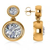 Double Round-Cut Bezel Diamond Drop Earrings 14k Yellow Gold (4.50ct)