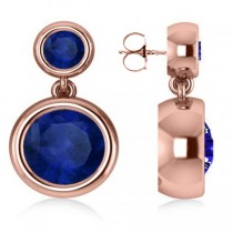 Double Blue Sapphire Gemstone Drop Earrings 14k Rose Gold (4.50ct)