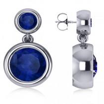 Double Blue Sapphire Gemstone Drop Earrings 14k White Gold (4.50ct)