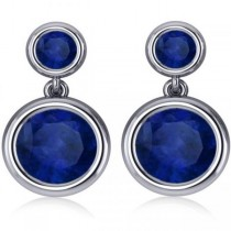 Double Blue Sapphire Gemstone Drop Earrings 14k White Gold (4.50ct)|escape