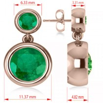 Double Emerald Bezel Gemstone Drop Earrings 14k Rose Gold (4.50ct)