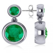 Double Emerald Bezel Gemstone Drop Earrings 14k White Gold (4.50ct)