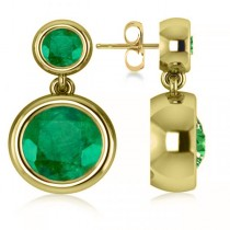 Double Emerald Bezel Gemstone Drop Earrings 14k Yellow Gold (4.50ct)