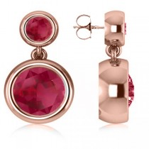 Double Ruby Bezel  Gemstone Drop Earrings 14k Rose Gold (4.50ct)