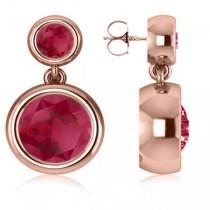 Double Ruby Bezel  Gemstone Drop Earrings 14k Rose Gold (4.50ct)