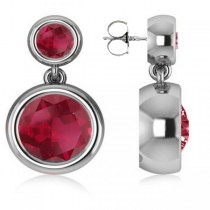 Double Ruby Bezel Gemstone Drop Earrings 14k White Gold (4.50ct)