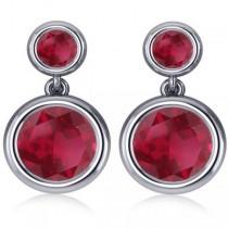 Double Ruby Bezel Gemstone Drop Earrings 14k White Gold (4.50ct)
