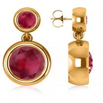 Double Ruby Bezel Gemstone Drop Earrings 14k Yellow Gold (4.50ct)