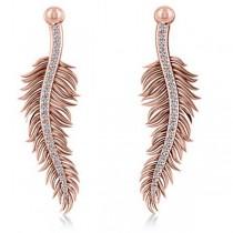 Diamond Feather Fashion Drop Earrings 14k Rose Gold (0.20ct)