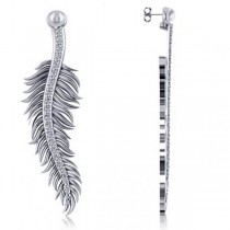 Diamond Feather Fashion Drop Earrings 14k White Gold (0.20ct)
