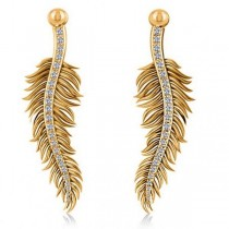 Diamond Feather Fashion Drop Earrings 14k Yellow Gold (0.20ct)