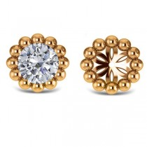 Beaded Round Earring Jackets Plain Metal 14k Yellow Gold