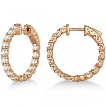 Small Round Diamond Hoop Earrings 14k Rose Gold (3.00ct)