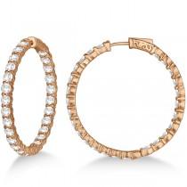 Prong-Set Large Diamond Hoop Earrings 14k Rose Gold (8.01ct)