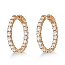 Prong-Set Medium Diamond Hoop Earrings 14k Rose Gold (5.54ct)