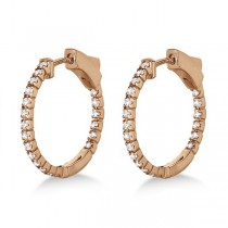 Unique Thin Small Diamond Hoop Earrings 14k Rose Gold (0.50 ct)