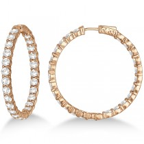 Fancy Prong-Set Large Diamond Hoop Earrings 14k Rose Gold (10.00ct)