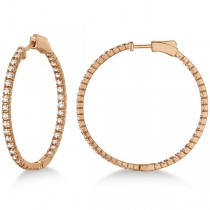 Stylish Large Round Diamond Hoop Earrings 14k Rose Gold (2.00ct)