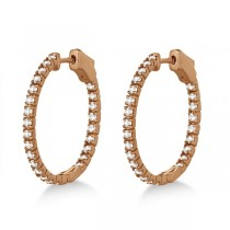 Stylish Small Round Diamond Hoop Earrings 14k Rose Gold (1.00ct)