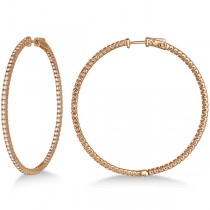 Unique X-Large Diamond Hoop Earrings 14k Rose Gold (3.00ct)