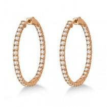 Large Round Diamond Hoop Earrings 14k Rose Gold (2.05ct)