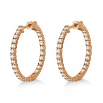 Medium Round Diamond Hoop Earrings 14k Rose Gold (1.55ct)