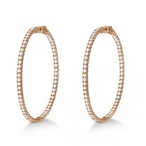 X-Large Round Diamond Hoop Earrings 14k Rose Gold (5.15ct)