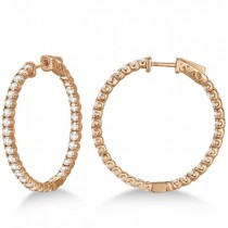 Large Round Diamond Hoop Earrings 14k Rose Gold (3.25ct)