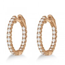Medium Round Diamond Hoop Earrings 14k Rose Gold (2.00ct)