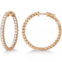 Medium Fancy Round Diamond Hoop Earrings 14k Rose Gold (4.50ct)