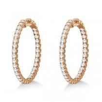 Medium Fancy Round Diamond Hoop Earrings 14k Rose Gold (4.50ct)