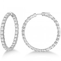 Prong-Set Large Diamond Hoop Earrings 14k White Gold (8.01ct)
