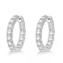 Prong-Set Small Diamond Hoop Earrings 14k White Gold (3.70ct)