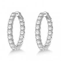 Fancy Medium Round Diamond Hoop Earrings 14k White Gold (7.20ct)|escape