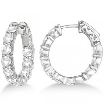 Small Round Diamond Hoop Earrings 14k White Gold (4.00ct)