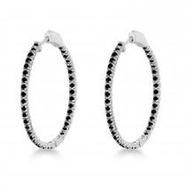 Stylish Large Round Black Diamond Hoop Earrings 14k White Gold (2.00ct)