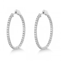 Stylish Large Round Diamond Hoop Earrings 14k White Gold (2.00ct)|escape
