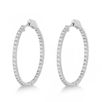 Medium Thin Round Diamond Hoop Earrings 14k White Gold (1.50ct)