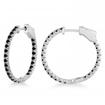 Stylish Small Round Black Diamond Hoop Earrings 14k White Gold (1.00ct)