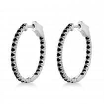 Stylish Small Round Black Diamond Hoop Earrings 14k White Gold (1.00ct)