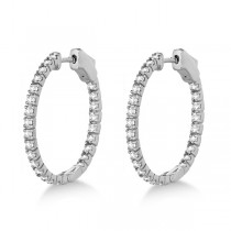 Stylish Small Round Diamond Hoop Earrings 14k White Gold (1.00ct)|escape