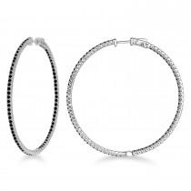 Unique X-Large Black Diamond Hoop Earrings 14k White Gold (3.00ct)