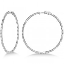 Unique X-Large Diamond Hoop Earrings 14k White Gold (3.00ct)