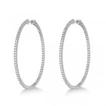 Unique X-Large Diamond Hoop Earrings 14k White Gold (3.00ct)|escape