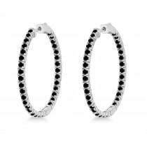 Large Round Black Diamond Hoop Earrings 14k White Gold (2.05ct)