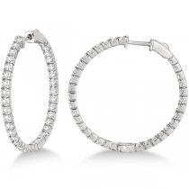 Large Round Diamond Hoop Earrings 14k White Gold (2.05ct)