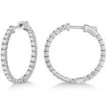 Medium Round Diamond Hoop Earrings 14k White Gold (1.55ct)