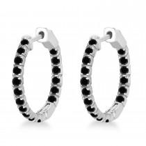 Fancy Small Round Black Diamond Hoop Earrings 14k White Gold (1.00ct)