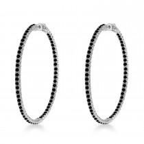 X-Large Round Black Diamond Hoop Earrings 14k White Gold (5.15ct)